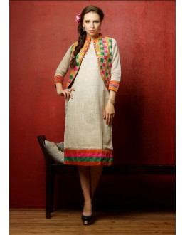 Party Wear Readymade Cream Cotton Kurti - Darpan2044-1